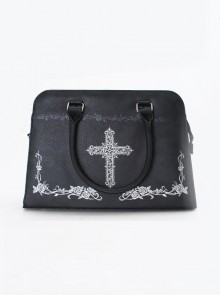 Silver Cross Rose Black Gothic Lolita Kylie Bag