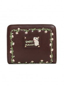 Cute Brown Flower Vine Embroidery Lolita Wallet