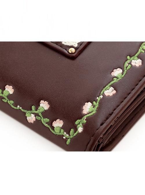 Cute Brown Flower Vine Embroidery Lolita Wallet