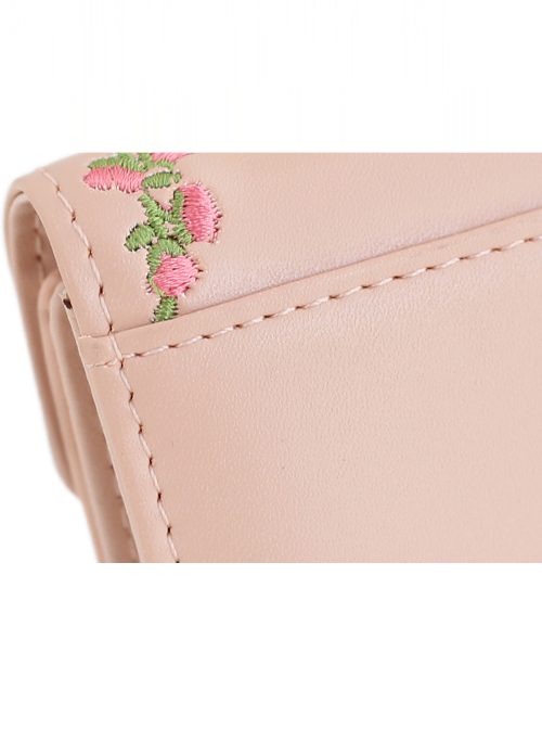 Cat And Flower Vine Embroidery Pink Lolita Short Wallet
