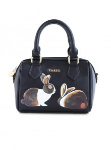 Black Retro Printing Lolita College Boston bag
