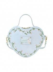 Light Blue Heart-shaped Flower Vine Embroidery Lolita Shoulder Bag