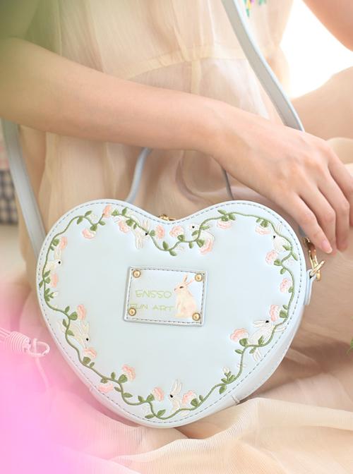 Light Blue Heart-shaped Flower Vine Embroidery Lolita Shoulder Bag
