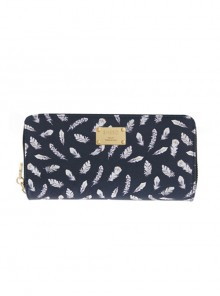 Feather Printing Lolita Black Long Wallet
