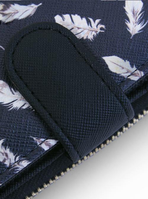 Feather Printing Lolita Black Long Wallet
