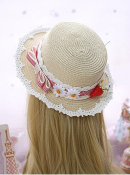 Plaid Bowknot Cute Strawberry Lolita Straw Hat