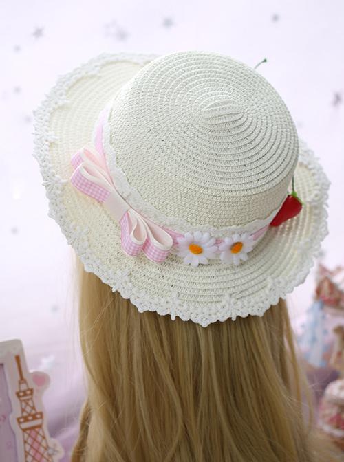 Plaid Bowknot Cute Strawberry Lolita Straw Hat