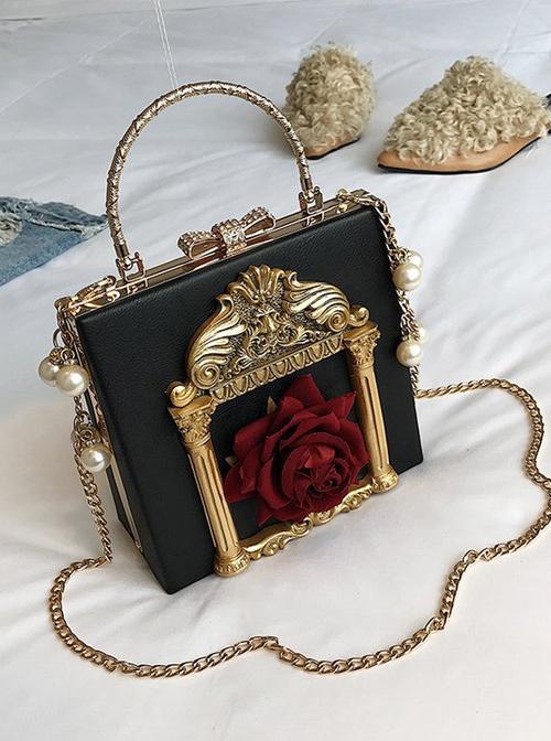 Gothic Rose Pearl Chain Retro Lolita Shoulder Bag
