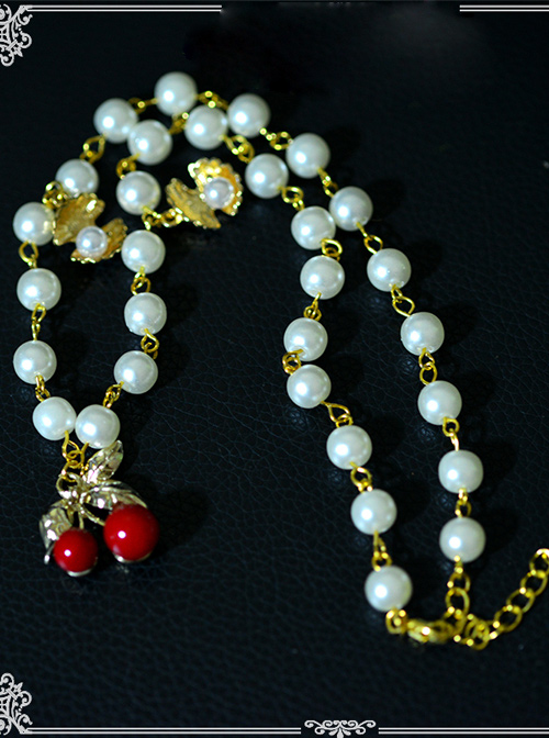 Cute Red Cherry Pearl Shell Lolita Necklace