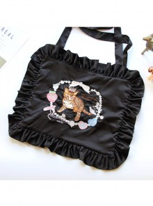 Cat Strawberry Embroidered Square Ruffles Satin Lolita Shoulder Bag