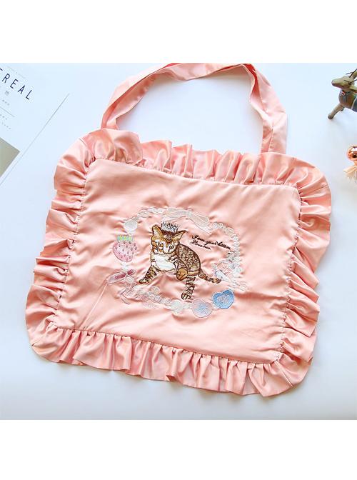 Cat Strawberry Embroidered Square Ruffles Satin Lolita Shoulder Bag