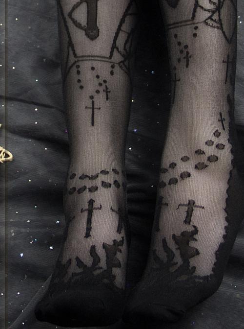 Moon Graveyard Series Gothic Lolita Silk Stockings