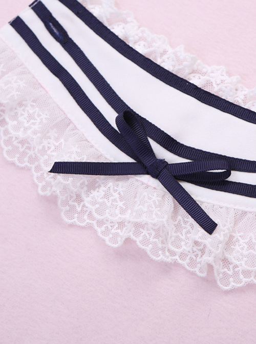 Cat Mariners Series Navy Blue Stripe Lolita Hand Sleeves