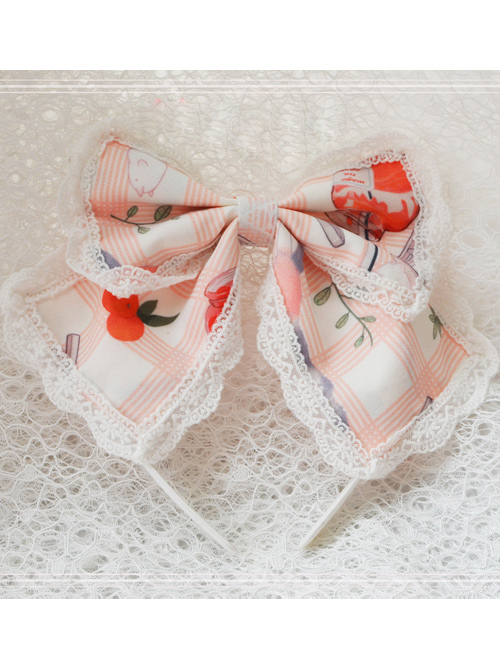 Magic Tea Party Kitty And Orange Sauce Series Printing Classic Lolita Hair Hoop