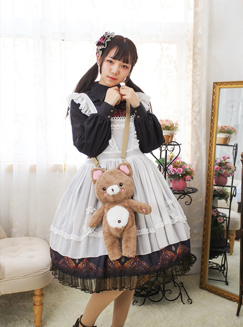 Sweet Lolita Cute Bear Doll Inclined Shoulder Bag And Bear's Dress Set