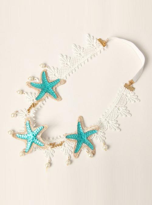 White Lace Starfish Pearl Hairband