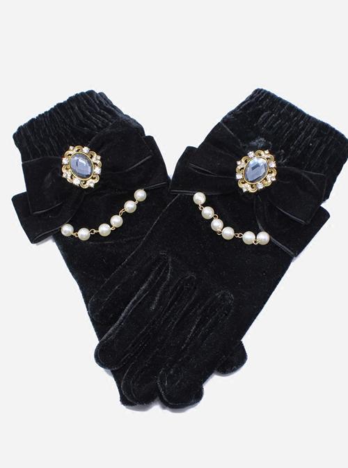 Elegant Velvet Bowknot Bead Chain Gothic Lolita Gloves