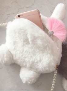Cute White Cat And Gray Little Raccoon Tail Pearl Chain Sweet Lolita Shoulder Bag