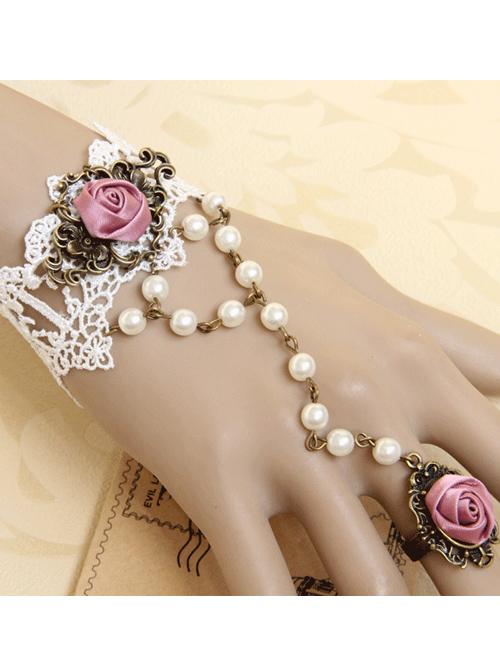 White Lace Retro Rose Lolita Bracelet And Finger Ring One Chain Set