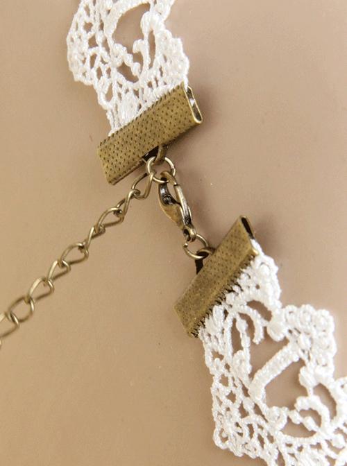 White Lace Retro Rose Pearls Lolita Necklace