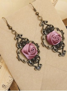 Palace Style Retro Light Purple Rose Classic Lolita Earrings
