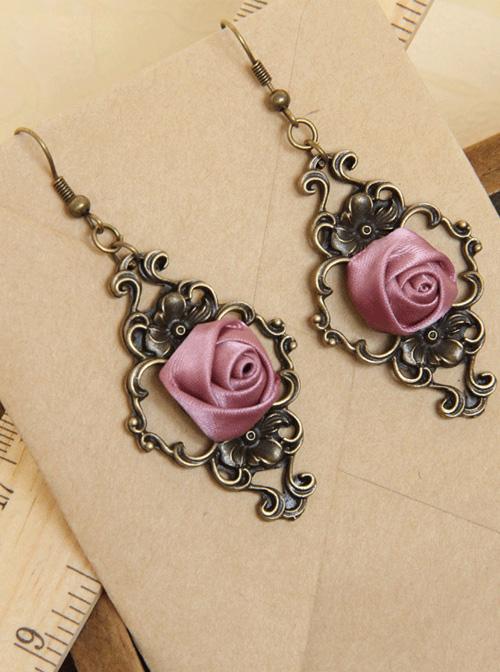 Palace Style Retro Light Purple Rose Classic Lolita Earrings