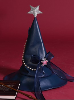 Silver Star Halloween Navy Blue Gothic Lolita Witch Hat