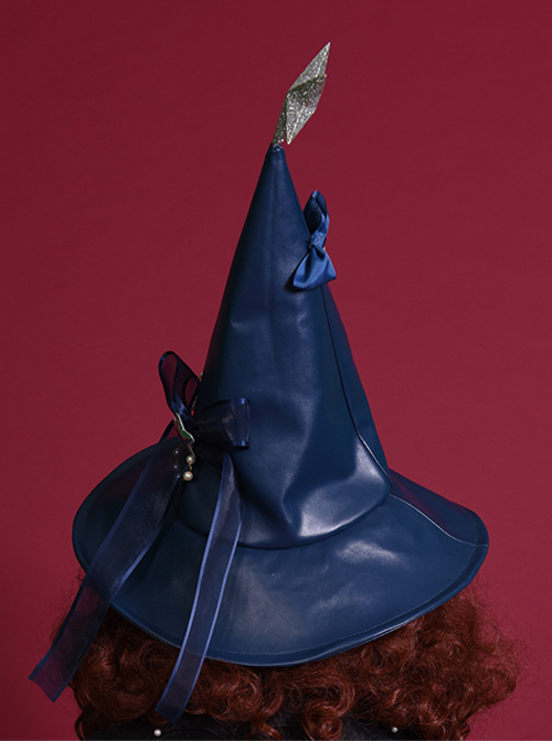 Silver Star Halloween Navy Blue Gothic Lolita Witch Hat