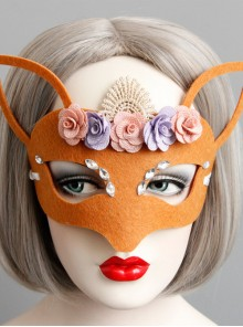 Orange Halloween Lace Flower Fox Half Face Mask