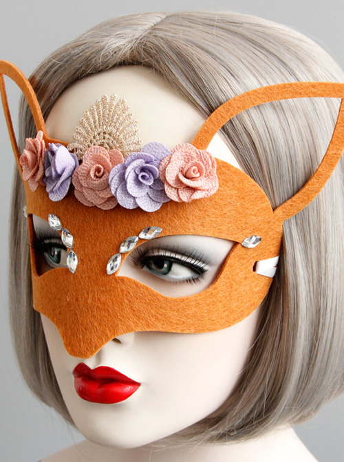 Orange Halloween Lace Flower Fox Half Face Mask