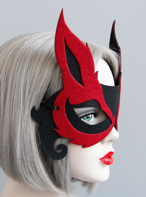 Fox Halloween Black And Red Half Face Mask