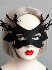Halloween Christmas Black Antlers Half Face Mask
