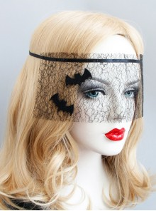 Halloween Black Bat Net Yarn Gothic Mask