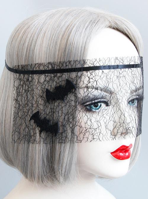 Halloween Black Bat Net Yarn Gothic Mask