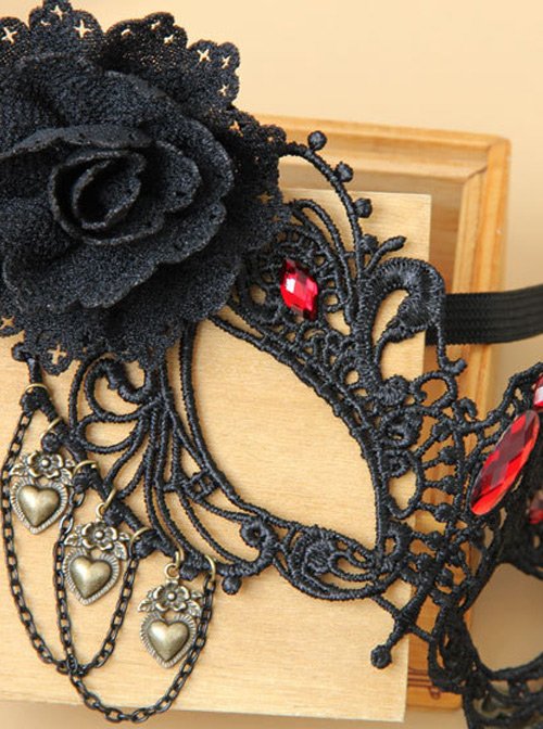 Black Lace Masquerade Half Face Mask Retro Gothic Mask