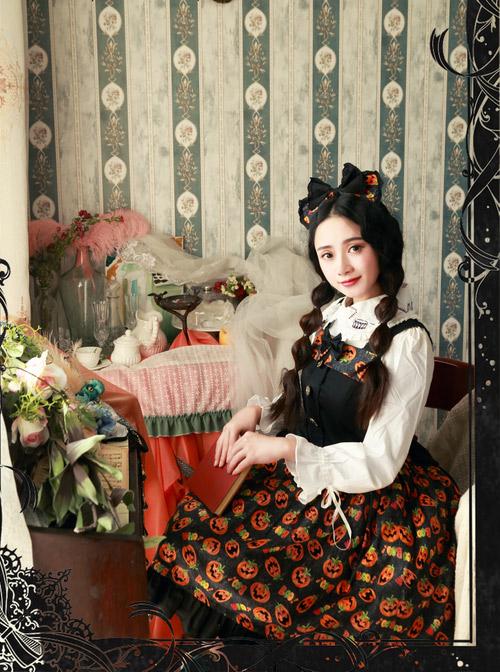 Magic Tea Party Halloween Pumpkin Head Printing Gothic Lolita Hair Hoop