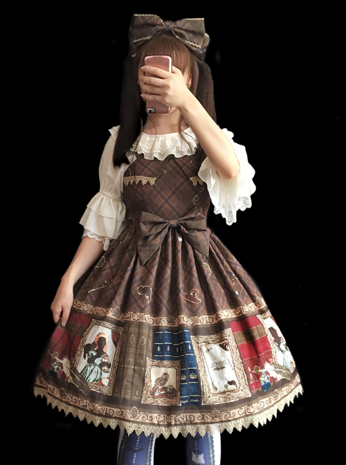 Magic Dictionary Series Plaids Printing Classic Lolita Hat