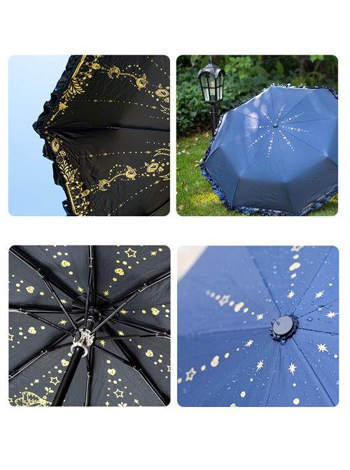 Starry Sky Gilding Classic Lolita Fold Vinyl Umbrella Clear Rain Dual-purpose