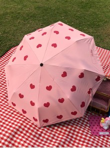 Pink Heart Pattern Sweet Lolita Fold Ultraviolet-proof Umbrella