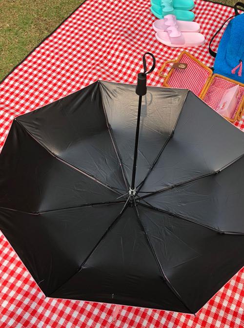 Pink Heart Pattern Sweet Lolita Fold Ultraviolet-proof Umbrella