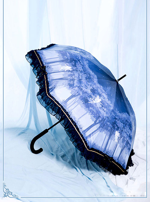 Fairies And Forest Series Navy Blue Lace Classic Lolita Straight Shank Umbrella