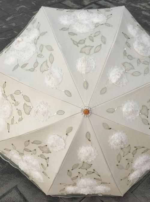 Elegant Lace Three-dimensional Embroidery Lolita Folding Ultraviolet-proof Umbrella