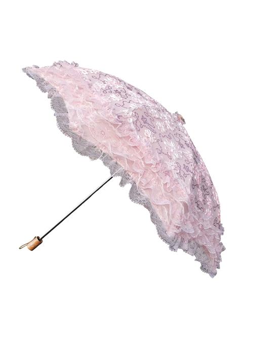 Lace Embroidered Flower Sequins Fold Ultraviolet-proof Lolita Princess Umbrella