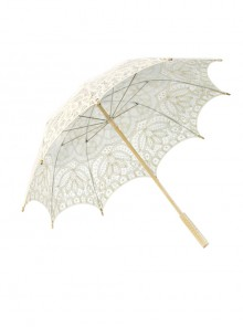 Sweet Hollow Out White Lace Princess Lolita Decorative Umbrella