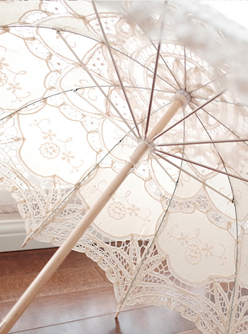 Sweet Hollow Out White Lace Princess Lolita Decorative Umbrella