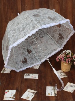 White Transparent Lace Printing Retro Lolita Automatic Long Handle Umbrella
