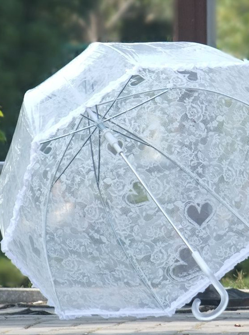 White Transparent Lace Printing Retro Lolita Automatic Long Handle Umbrella