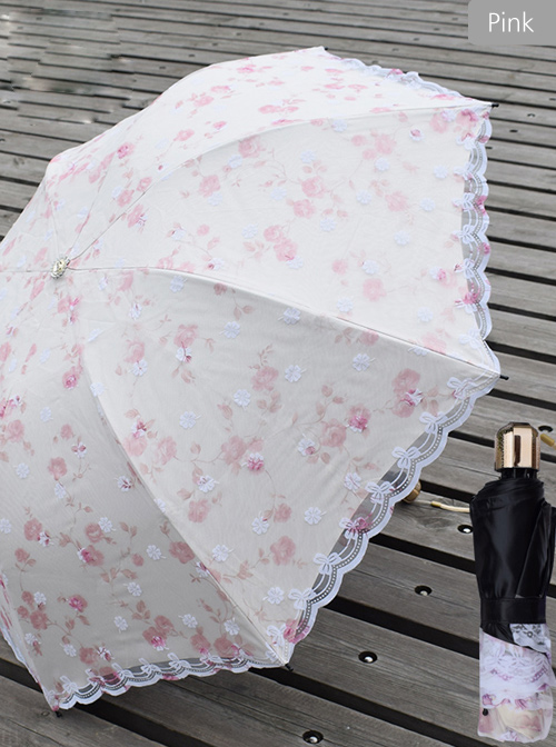 Embroidered Lace Ultraviolet-proof Classic Lolita Fold Umbrella