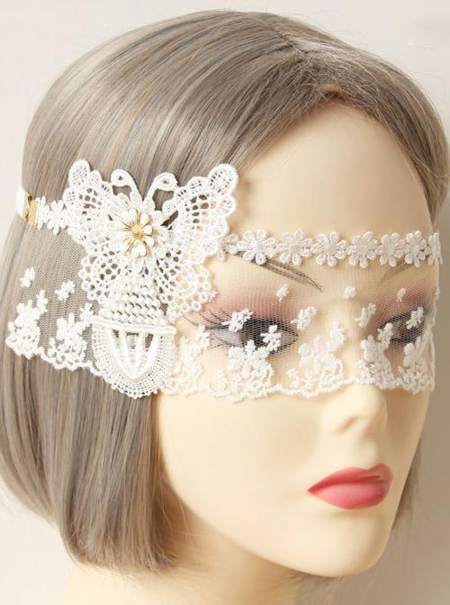 Elegant White Lace Butterfly Lolita Mask