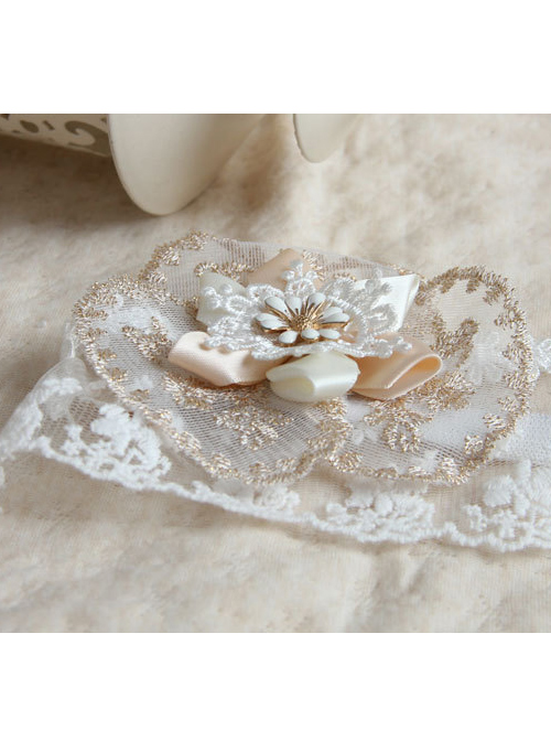 White Lace Flower Tulle Bride Lolita Mask